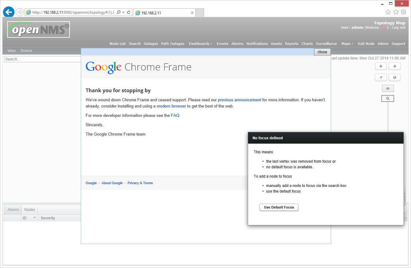 NMS-7093] Topology Map shows Google Chrome Frame Notice Popup (IE ...